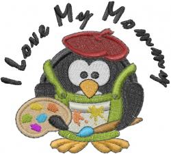 Penguin Artist Love Mommy embroidery design