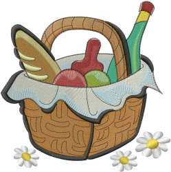 Picnic Basket & Daisies embroidery design