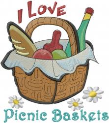 I Love Picnic Baskets embroidery design