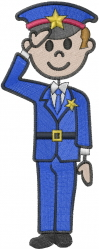 Policeman Stick Figure embroidery design