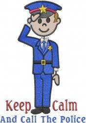Keep Calm Call Police embroidery design