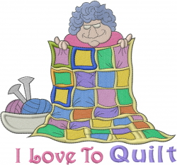 Grandma Loves To Quilt embroidery design