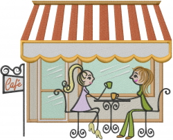 Friends At The Cafe embroidery design