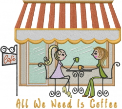 Friend and Coffee embroidery design