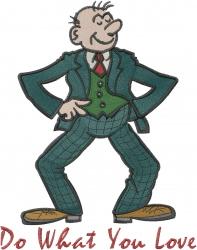 Happy Businessman embroidery design