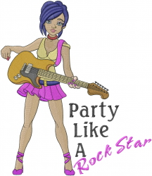Party Like A Rock Star embroidery design