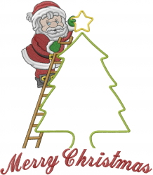 Santa Decorating Christmas Tree embroidery design