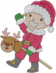 Santa Girl On Reindeer embroidery design