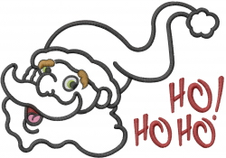 Santa Head Applique HoHoHo embroidery design