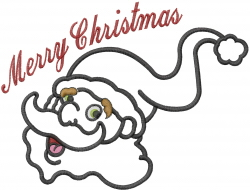 Santa Head Applique Xmas embroidery design
