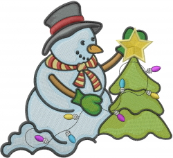 Snowman Decorating Xmas Tree embroidery design