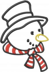 Snowman Head Applique embroidery design