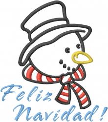 Snowman Applique Feliz Navidad embroidery design