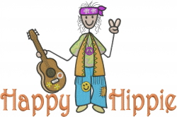 Happy Hippie Musician embroidery design