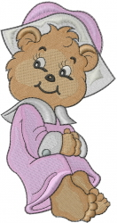 Thanksgiving Bear Girl embroidery design