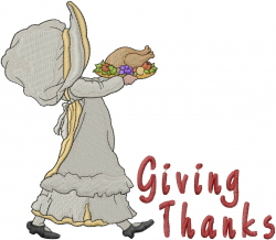 Thanksgiving Holly Giving Thanks embroidery design