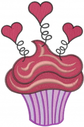 Valentine Heart Cupcake embroidery design