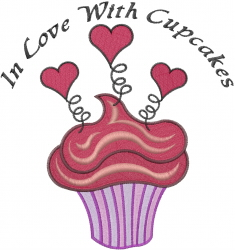 In Love With Cupcakes embroidery design