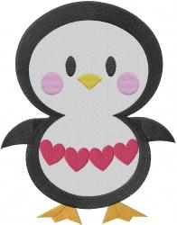 Valentine Penguin embroidery design