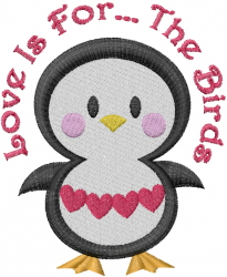 Valentine Penguin Love Is... embroidery design