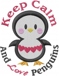 Keep Calm... Love Penguins embroidery design