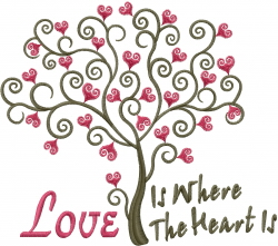 Valentine Tree Love Is... embroidery design