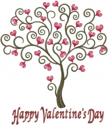 Happy Valentines Day Tree embroidery design