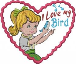 I Love My Bird embroidery design