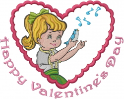 Vintage Happy Valentines Day embroidery design