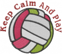 Keep Calm Play Volleyball embroidery design