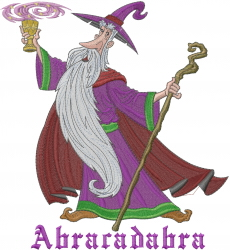 Abracadabra Wizard embroidery design