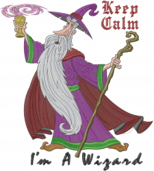 Keep Calm Wizard embroidery design