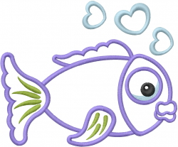Love Fish Him Applique embroidery design