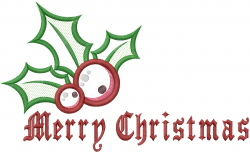 Merry Christmas Holly Applique embroidery design