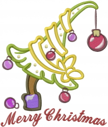Merry Christmas Tree Applique embroidery design
