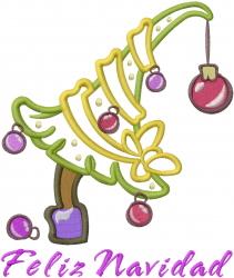 Feliz Navidad Tree Applique embroidery design
