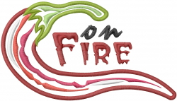 Pepper On Fire Applique embroidery design