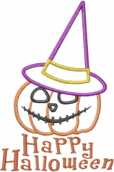 Happy Halloween Pumpkin Applique embroidery design