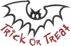 Trick Or Treat Bat Applique embroidery design