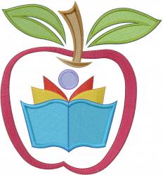 Apple School Logo embroidery design
