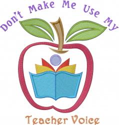 Apple Teacher Voice embroidery design