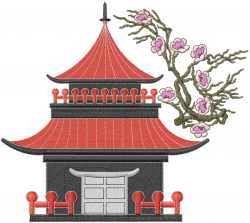 Asian House embroidery design