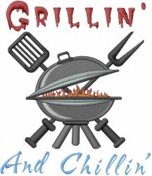 Grillin And Chillin embroidery design