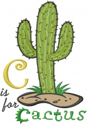 C for Cactus embroidery design