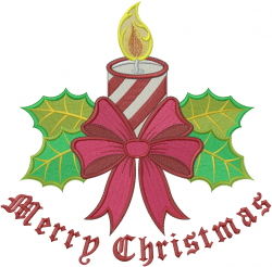 Merry Christmas Candle embroidery design