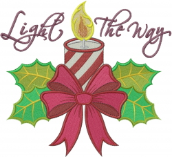 Light The Way Candle embroidery design