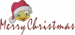 Merry Christmas Chick embroidery design