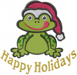 Holiday Frog embroidery design