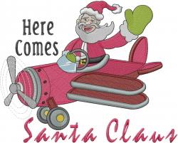 Christmas Flying Santa embroidery design
