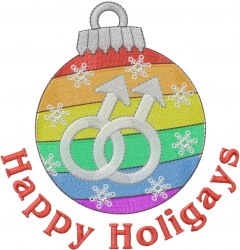 Gay Holiday Ornament embroidery design